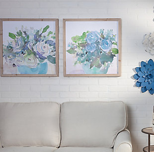 The Gerson Company Set Of Two 23.63-in D Blue Flower Themed Wall Art In Wooden Frames, , rollover
