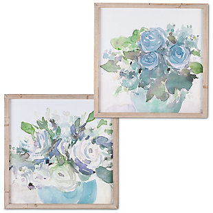 The Gerson Company Set Of Two 23.63-in D Blue Flower Themed Wall Art In Wooden Frames, , large