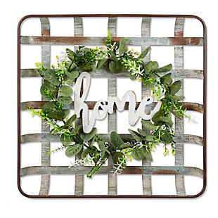 The Gerson Company 16.46-in L Metal Strap-in Home-in with Artificial Wreath Wall Decor, , large