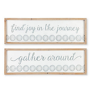 The Gerson Company Set of Two 33.07in L White and Gray Embossed Inspirational Metal and Wood Signs, , large