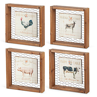 The Gerson Company Set of 4 9.50in L Metal and Wood Farm Animal Wall Art, , rollover
