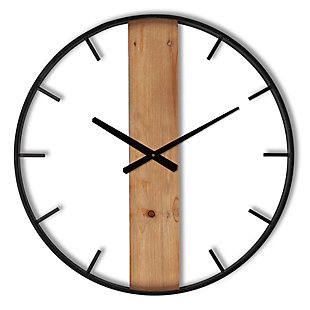 The Gerson Company 24-in D Metal and Wood Wall Clock, , rollover