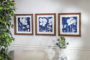 The Gerson Company Set of Three 16in D Blue Floral Prints in Wood Frames, , rollover