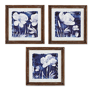 The Gerson Company Set of Three 16in D Blue Floral Prints in Wood Frames, , large