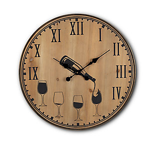 The Gerson Company 24-in D Five O'clock Somewhere Wood and Metal Wall Clock, , large