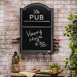 The Gerson Company 31in H Metal and Wood Pub Wine Rack with Chalkboard Front, , rollover