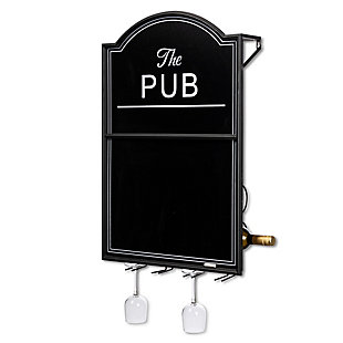 The Gerson Company 31in H Metal and Wood Pub Wine Rack with Chalkboard Front, , large
