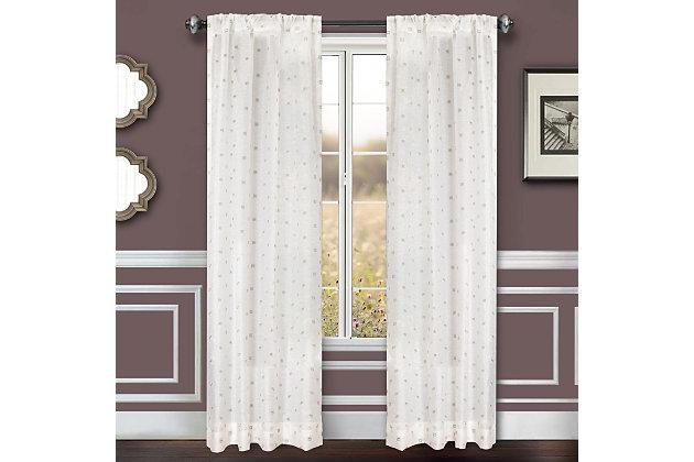 """Benson 96"""" Eyelet Panel Curtain, White Green, large"""