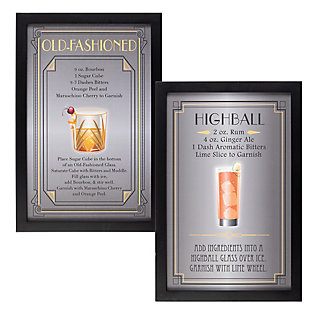The Gerson Company Set Of Two 23.63-in H Cocktail Recipe Wall Art, , large