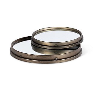 The Gerson Company Set of Two Assorted Round Metal Wall Mirrors, , large