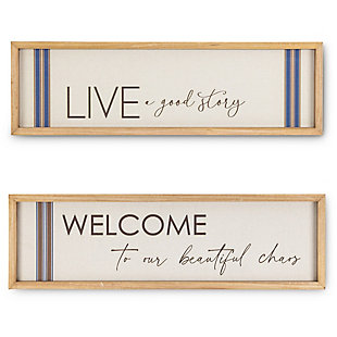 The Gerson Company Set of Two 11.75-in L Wood and Linen Inspirational Wall Art, , rollover