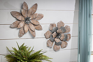 The Gerson Company Set of Two 19.25-in D Metal and Wood Wall Art Flowers, , rollover