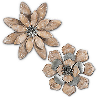 The Gerson Company Set of Two 19.25-in D Metal and Wood Wall Art Flowers, , large