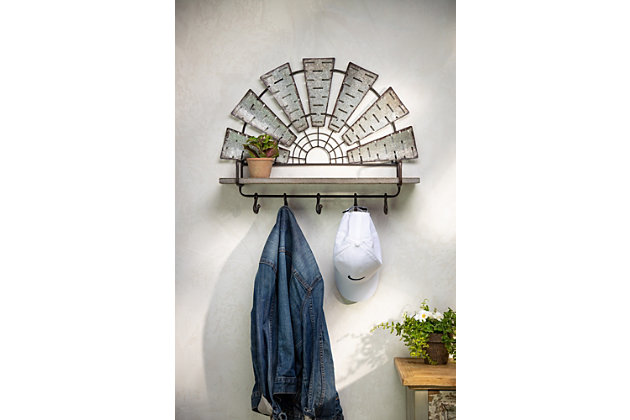 The Gerson Company 24.05in L Metal and Wood Windmill Wall Shelf and Coat Hook, , large
