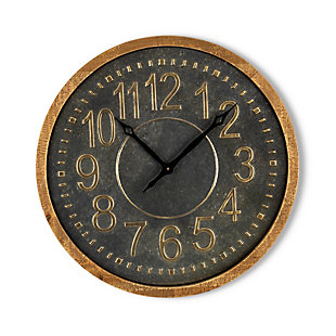 The Gerson Company 24-Inch Diameter Wood and Distressed Metal Wall Clock, , large