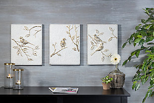 The Gerson Company Set of Three 16-in H White and Gold Metal Bird Wall Art, , rollover