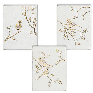 The Gerson Company Set of Three 16-in H White and Gold Metal Bird Wall Art, , large