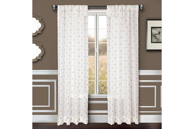 """Benson 84"""" Eyelet Panel Curtain, White Natural, large"""
