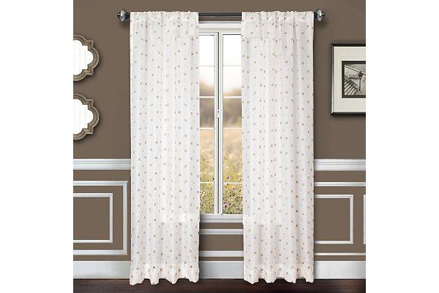 """Benson 96"""" Eyelet Panel Curtain, White Natural, large"""