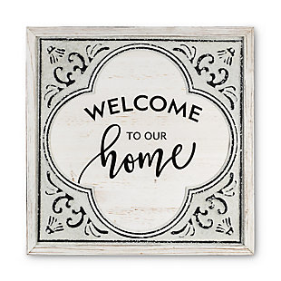 The Gerson Company 23.63in D Antique White Wood And Embossed Metal Welcome Home Wall Art, , rollover