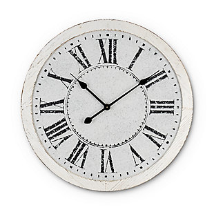 The Gerson Company 24.75-in White Antique Metal Embossed Wall Clock, , large