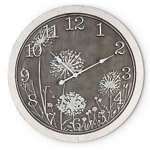 The Gerson Company 29.13-in Gray and White Embossed Metal Flower Wall Clock, , rollover