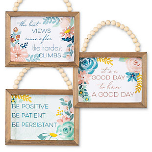 The Gerson Company Set of Three 7.88-in L Inspirational Wood Wall Art with Beaded Hanging Handles, , rollover