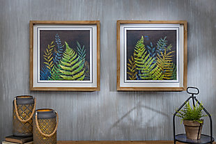 The Gerson Company Set of Two 15.75-in H Night Fern Wall Art in Wooden Frames, , rollover