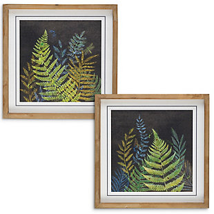 The Gerson Company Set of Two 15.75-in H Night Fern Wall Art in Wooden Frames, , large