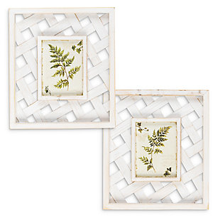 The Gerson Company Set of Two 13.4-in H White Wooden and Bamboo Framed Fern Wall Art, , rollover