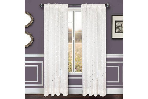 "Benson 84"" Eyelet Panel Curtain, White, large"
