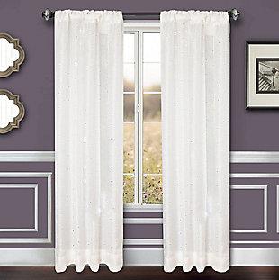 "Benson 96"" Eyelet Panel Curtain, White, large"