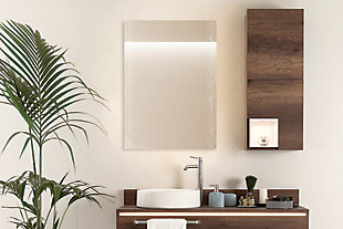 """Heavy Effects  Easy Install Decorative Floating Frameless Vanity Wall Mirror 2"""" Contemporary Doubled, , rollover"""