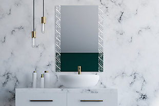 """Heavy Effects  Easy Install Decorative Floating Frameless Vanity Wall Mirror 2"""" Driftwood, , rollover"""