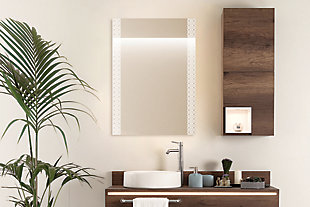 """Heavy Effects  Easy Install Decorative Floating Frameless Vanity Wall Mirror 2"""" Geo Contemporary, , rollover"""