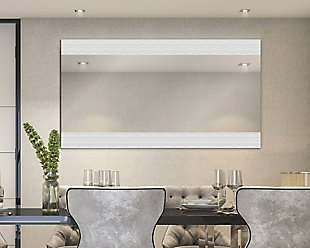 """Heavy Effects  Easy Install Decorative Floating Frameless Vanity Wall Mirror 4"""" Contemporary Etched, , rollover"""