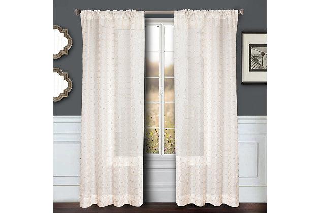 """Bizou 84"""" Sheer Panel Curtain, Gold, large"""
