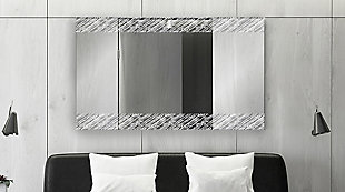 """Heavy Effects  Easy Install Decorative Floating Frameless Vanity Wall Mirror 4"""" Driftwood Etched, , rollover"""