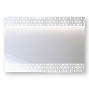 """Heavy Effects  Easy Install Decorative Floating Frameless Vanity Wall Mirror 4"""" Zebra Diamond Etched, , rollover"""