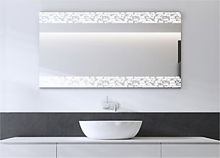 """Heavy Effects  Easy Install Decorative Floating Frameless Vanity Wall Mirror 4"""" Rustic Brick Etched, , rollover"""