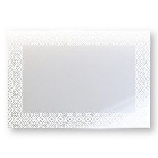 """Heavy Effects  Easy Install Decorative Floating Frameless Vanity Wall Mirror 4"""" Geo Contemporary Etched, , large"""