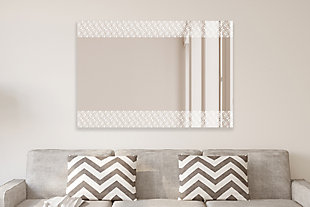 """Heavy Effects  Easy Install Decorative Floating Frameless Vanity Wall Mirror 4""""  Geo Modern Etched, , rollover"""