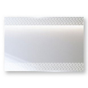 """Heavy Effects  Easy Install Decorative Floating Frameless Vanity Wall Mirror 4""""  Geo Modern Etched, , large"""