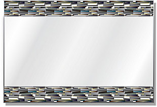 Heavy Effects  Blue Gray Brick Double Boarded Digital Imaged Wall Mirror, , large