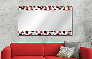 Heavy Effects  Black and Red Checker Double Boarded Digital Imaged Wall Mirror, , rollover