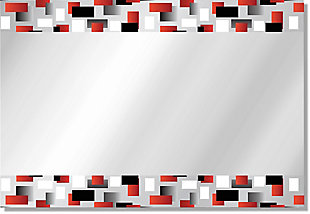 Heavy Effects  Black and Red Checker Double Boarded Digital Imaged Wall Mirror, , large