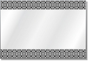 Heavy Effects  Black and White Geo Double Boarded Digital Imaged Wall Mirror, , large