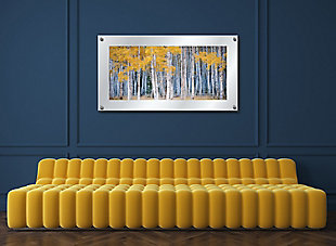 Heavy Effects  Aspen Tree Forest Landscape Wall Decor White Etched Frosted Frame, Yellow, rollover