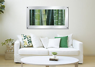Heavy Effects  Bamboo Green Reeds Wall Decor White Etched Frosted Frame, Green, rollover