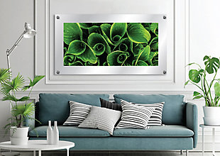 Heavy Effects  Green Leaf Twist Wall Decor White Etched Frosted Frame, Green, rollover